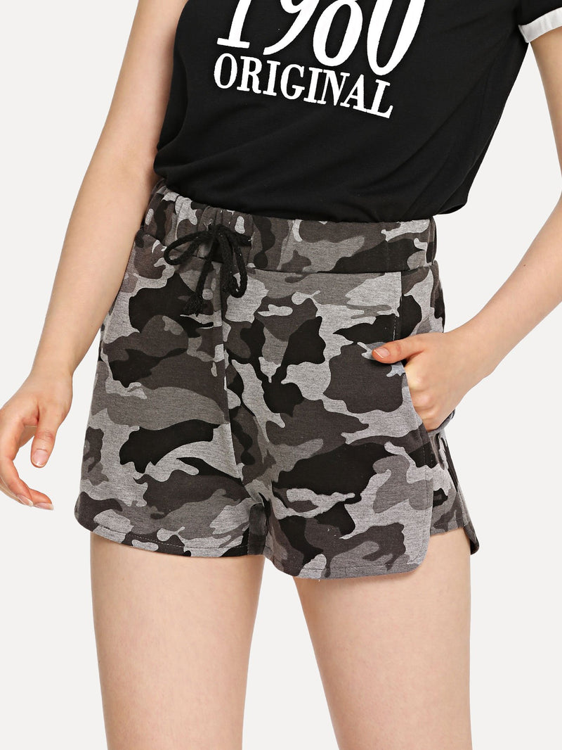 Camo Print Drawstring Sweat Shorts