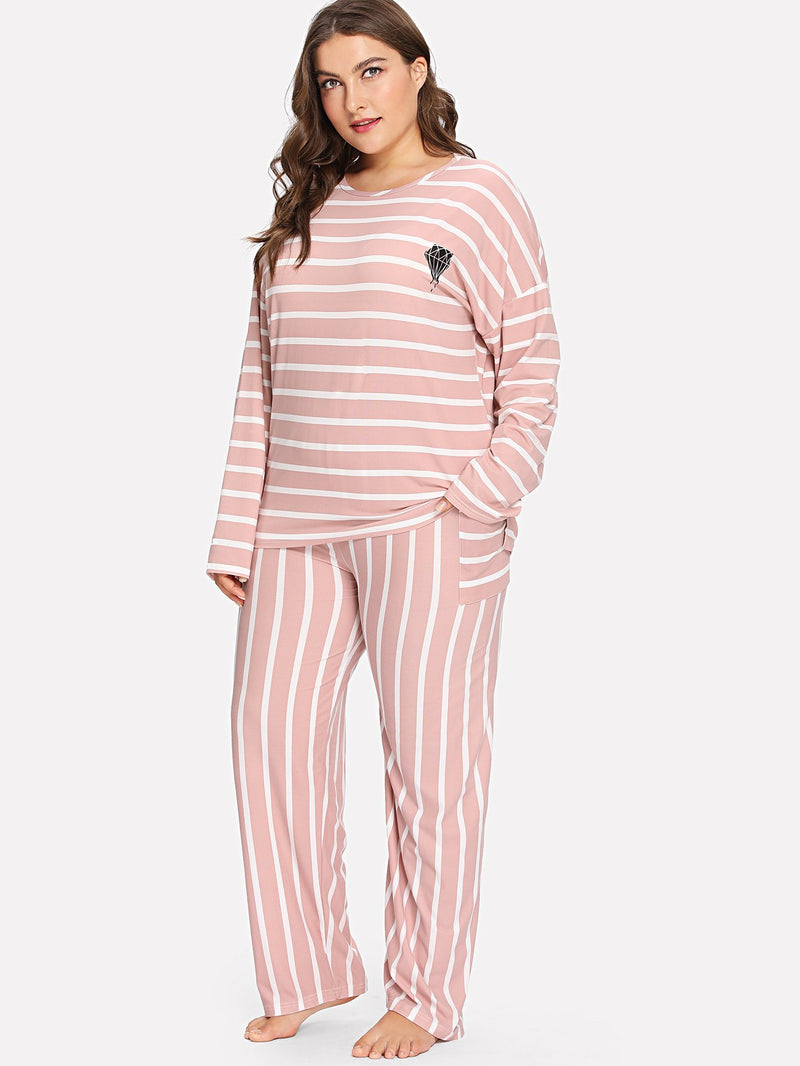 Diamond Print Striped PJ Set