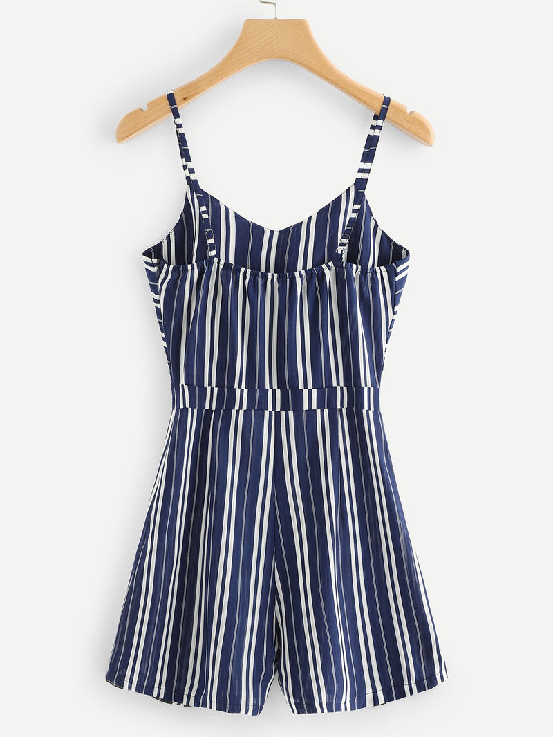 Bow Tie Front Striped Cami Jumpsuit