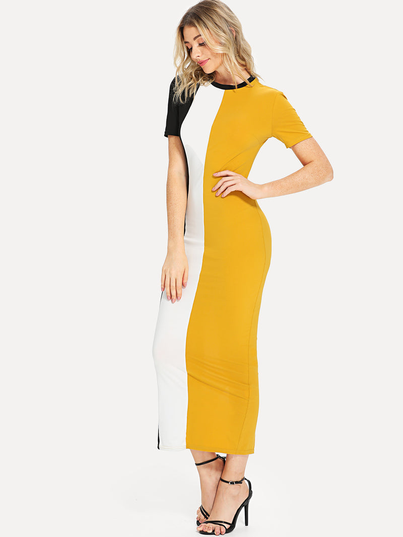 Cut And Sew Slit Back Fitted Dress