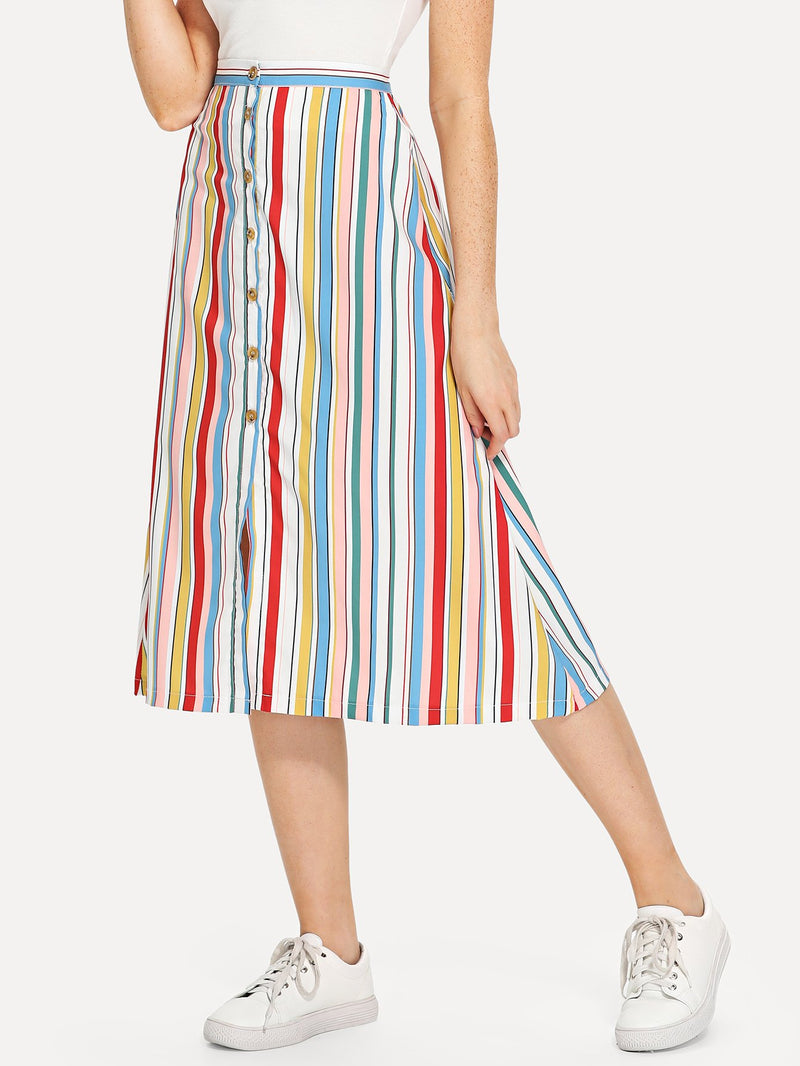 Button Front Stripe Skirt