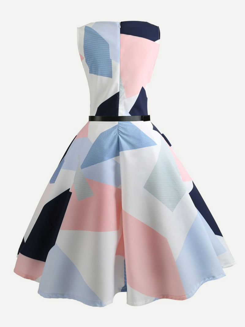 Color Block Zip Up Back Dress