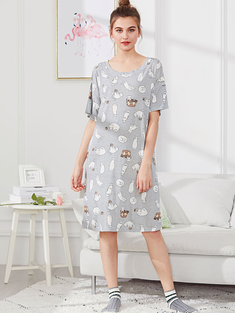 Cartoon Print Night Dress