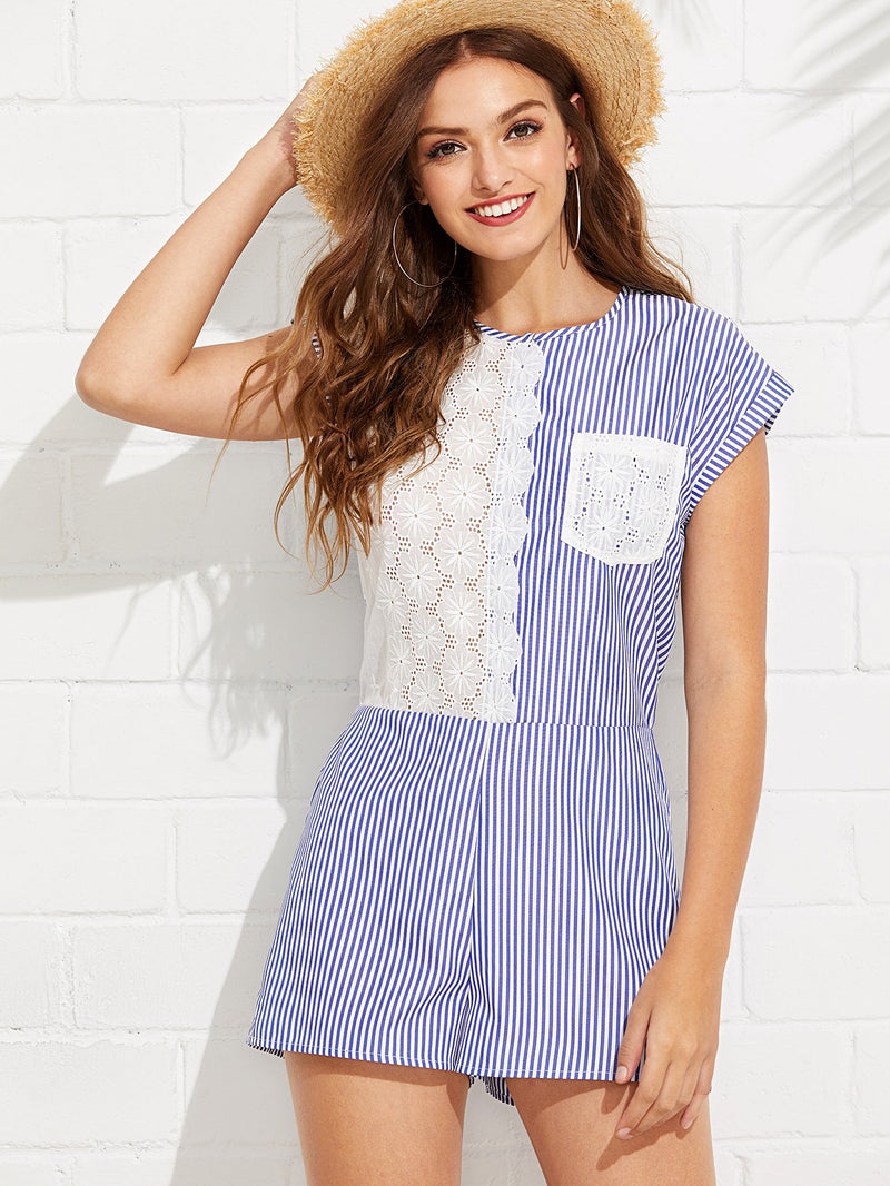 Contrast Embroidered Panel Pinstripe Romper
