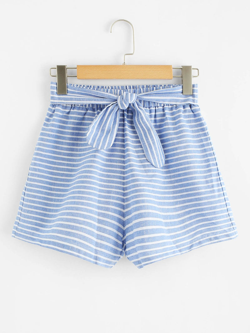 Bow Tied Front Striped Shorts