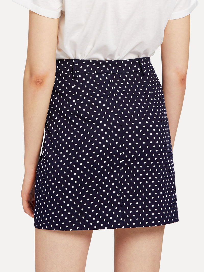 Button Front Polka Dot Skirt