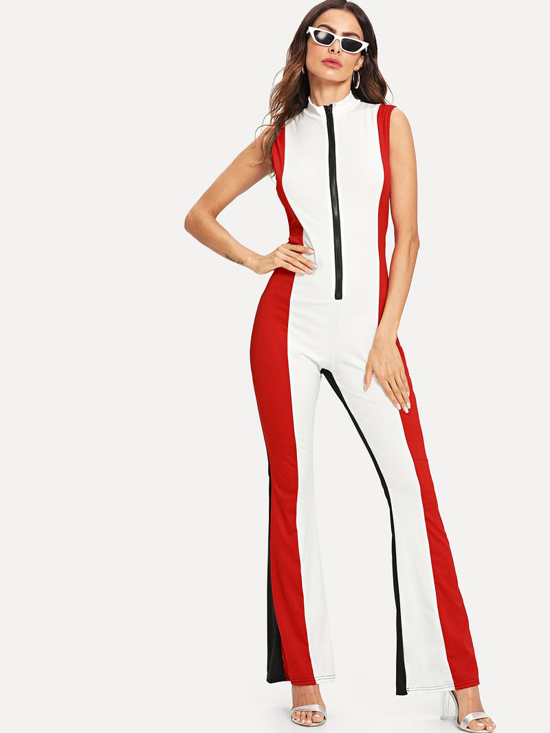 Color Block Zip Front Jumpsuit