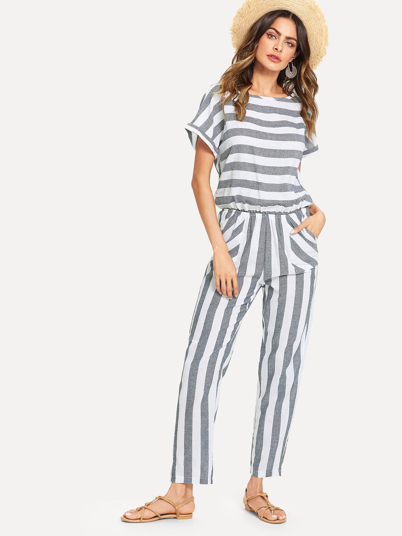 Batwing Sleeve Stripe Jumpsuit