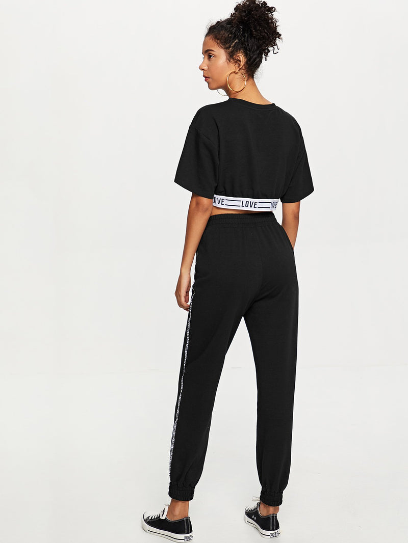 Contrast Tape Letter Crop Top and Sweatpants Set