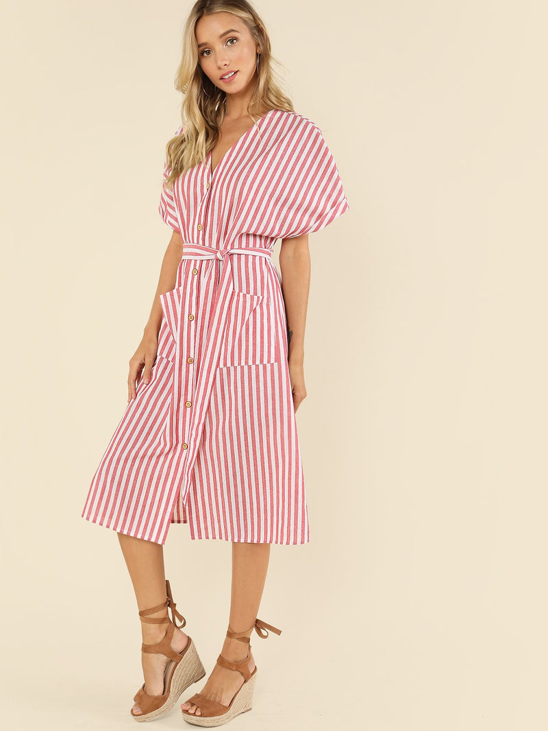 Button Up Pocket Front Belted Striped Dress