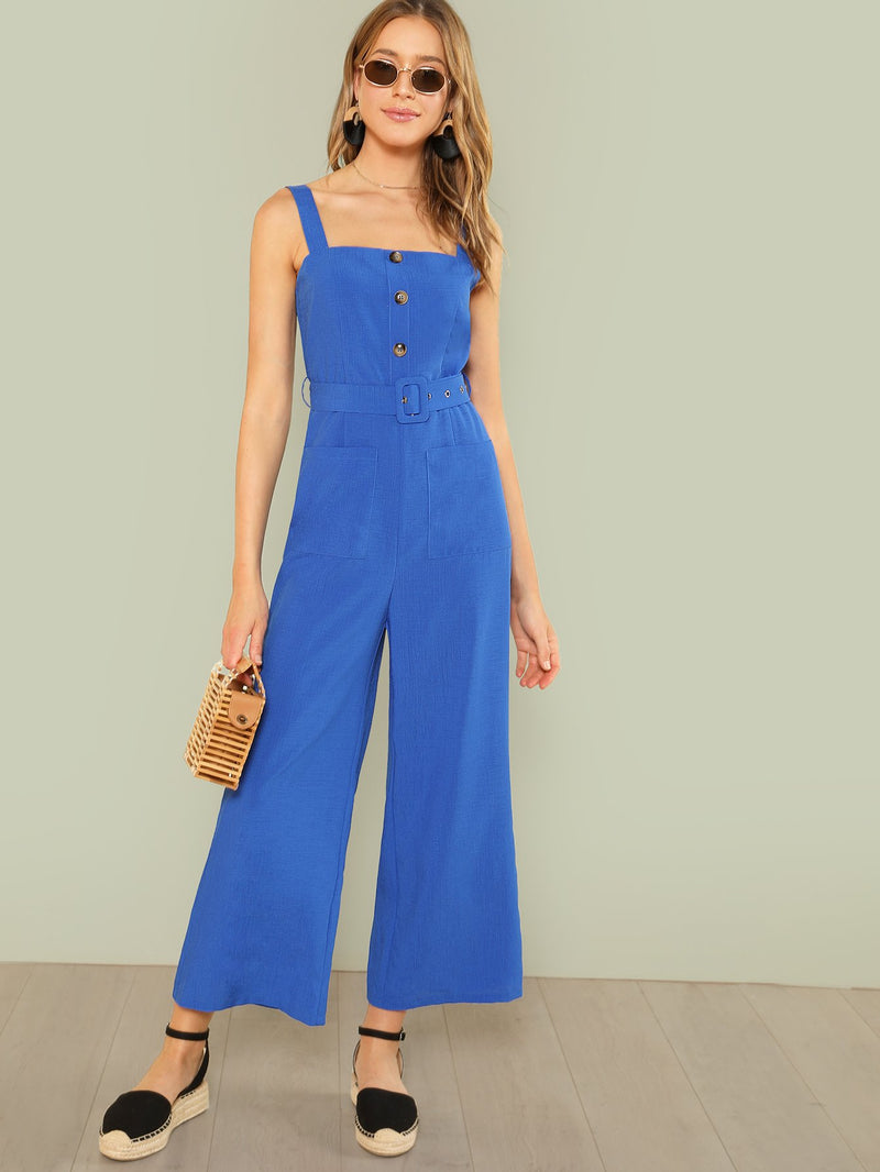 Button Up Wide Leg Strap Jumpsuit