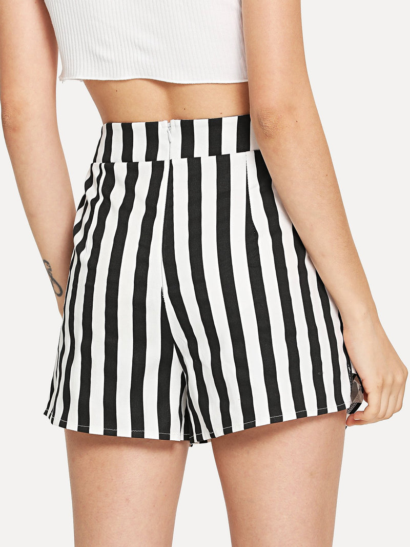 Asymmetrical Tiered Striped Shorts