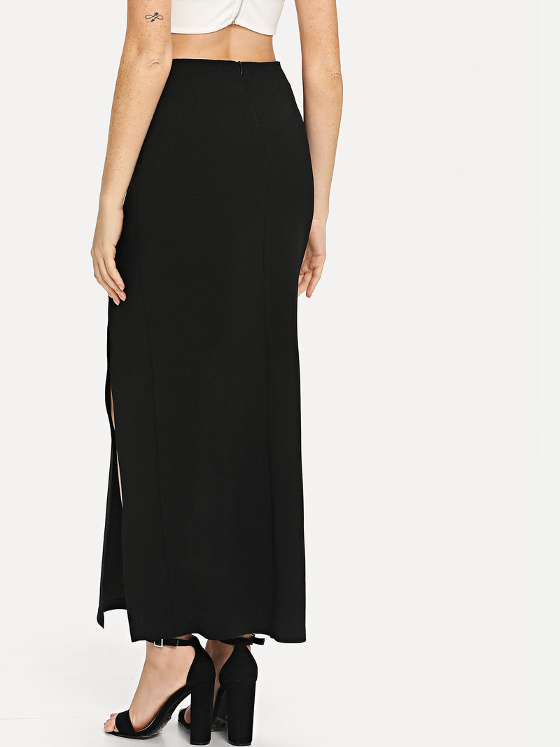 Button Embellished Slit Hem Skirt