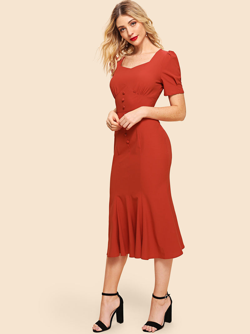 Button Front Wide Waistband Fishtail Dress