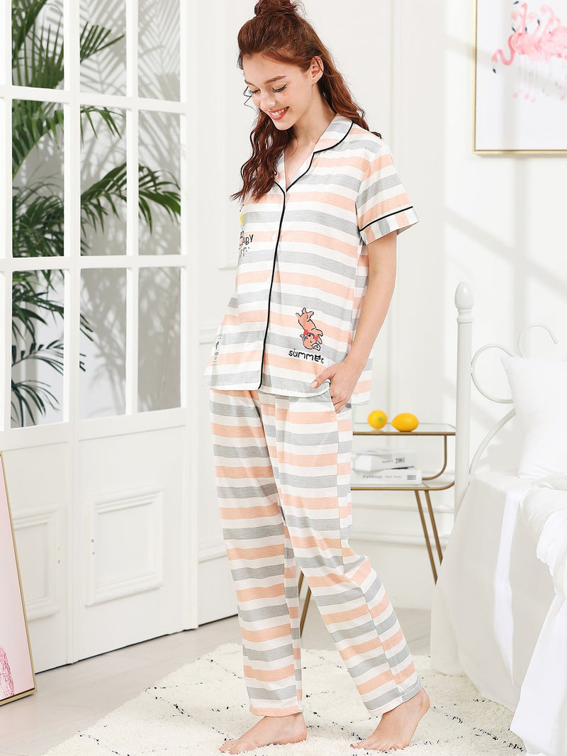 Cartoon & Letter Print Striped Pajama Set