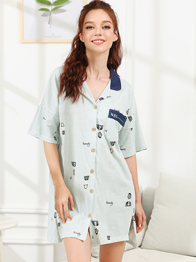 Cartoon Print Striped Night Dress