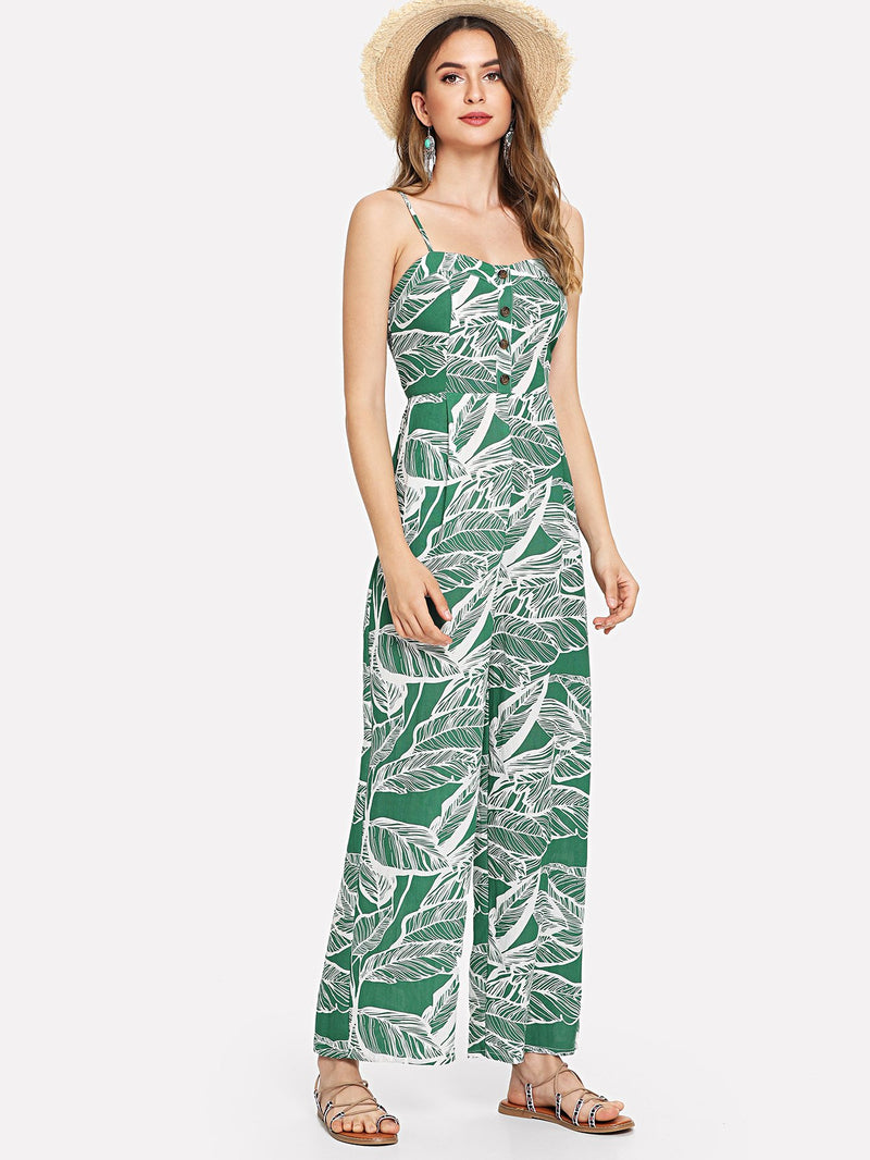 Button Front Jungle Leaf Print Wide Leg Cami Jumpsuit