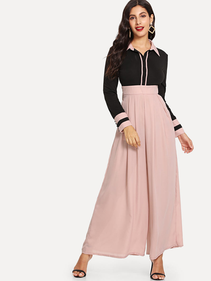 Button Front Pocket Side Two Tone Jumpsuit