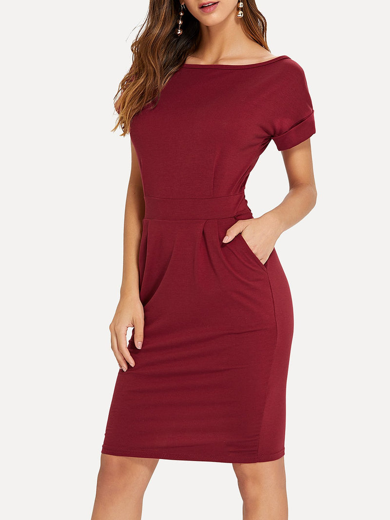 Boat Neck Knot Back Dress