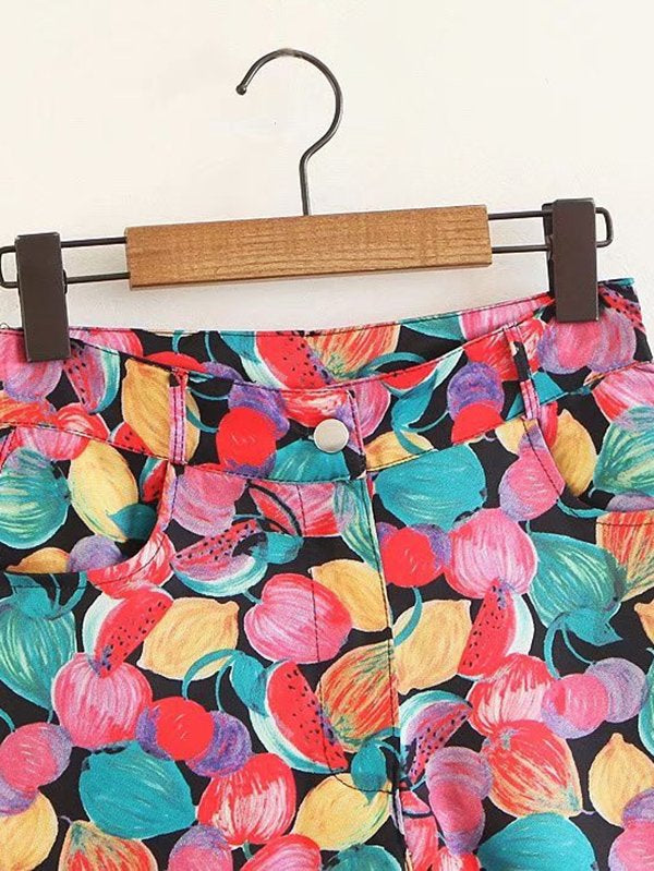 All Over Florals Raw Hem Shorts