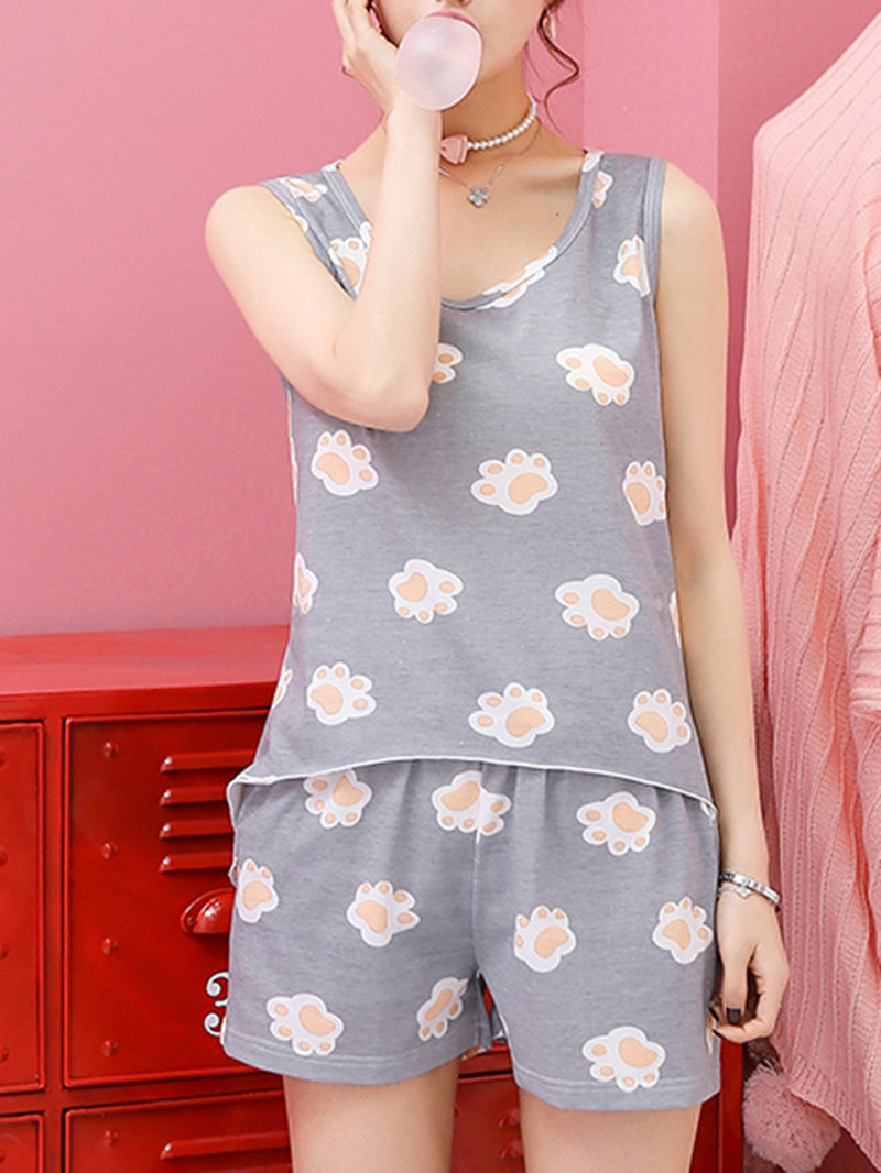 All Over Footstep Print Pajama Set