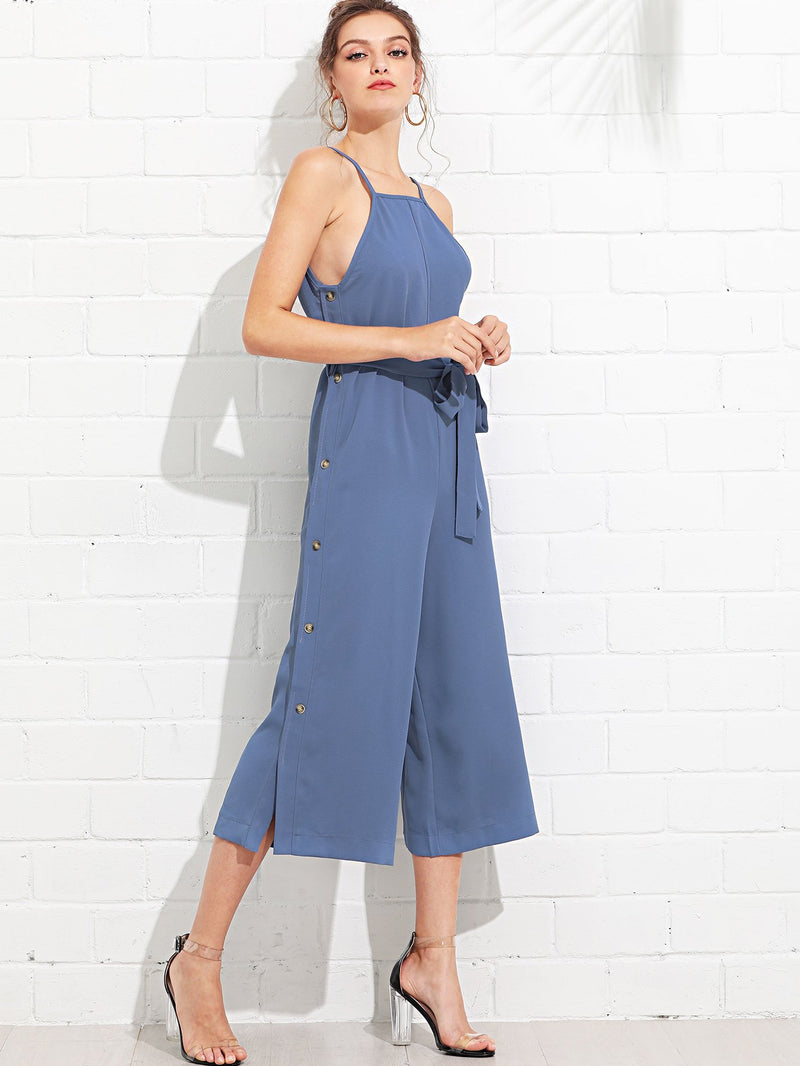 Button Side Self Tie Wide Leg Jumpsuit