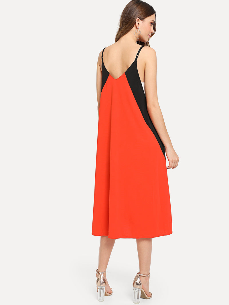 Color Block Pocket Side Cami Dress