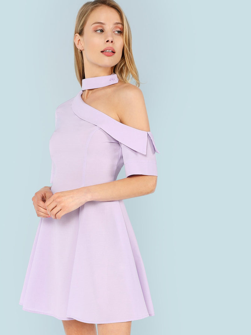 Asymmetrical Shoulder Fold Over Flare Dress