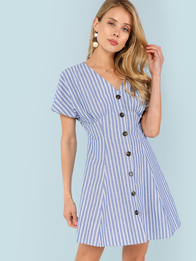 Button Up Fit & Flare Striped Dress