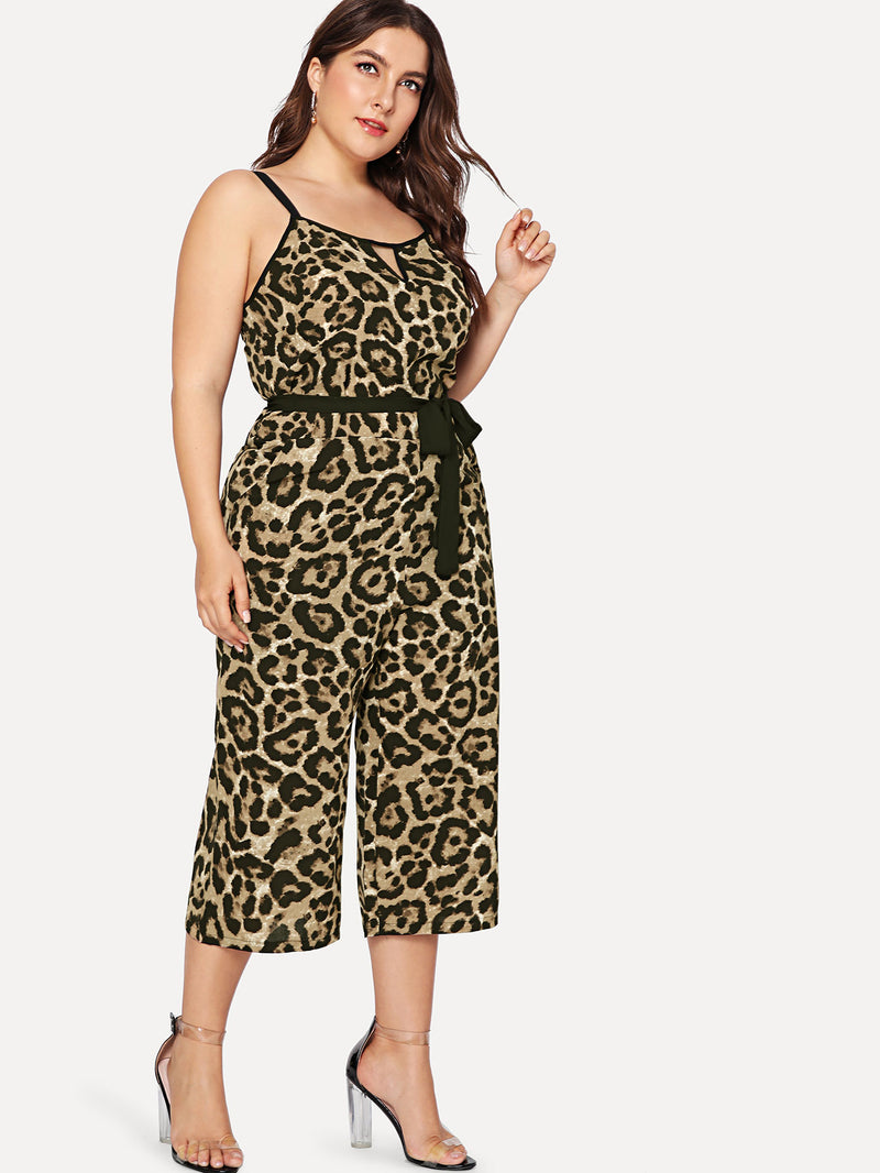 Camo Print Culotte Jumpsuit with Belt