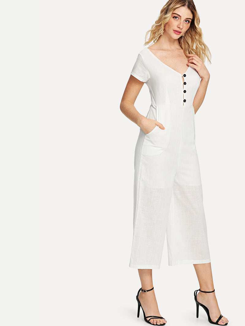 Button Front Wide Leg Jumpsuit