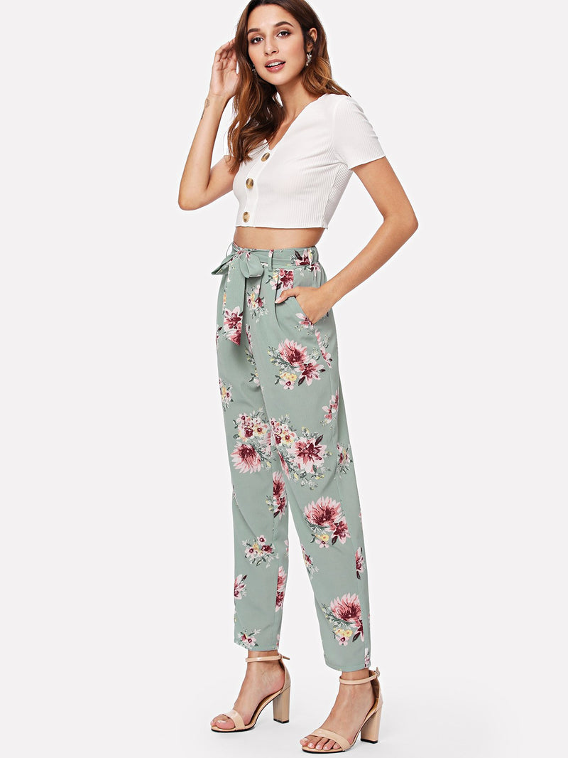 Belted Waist Floral Pants