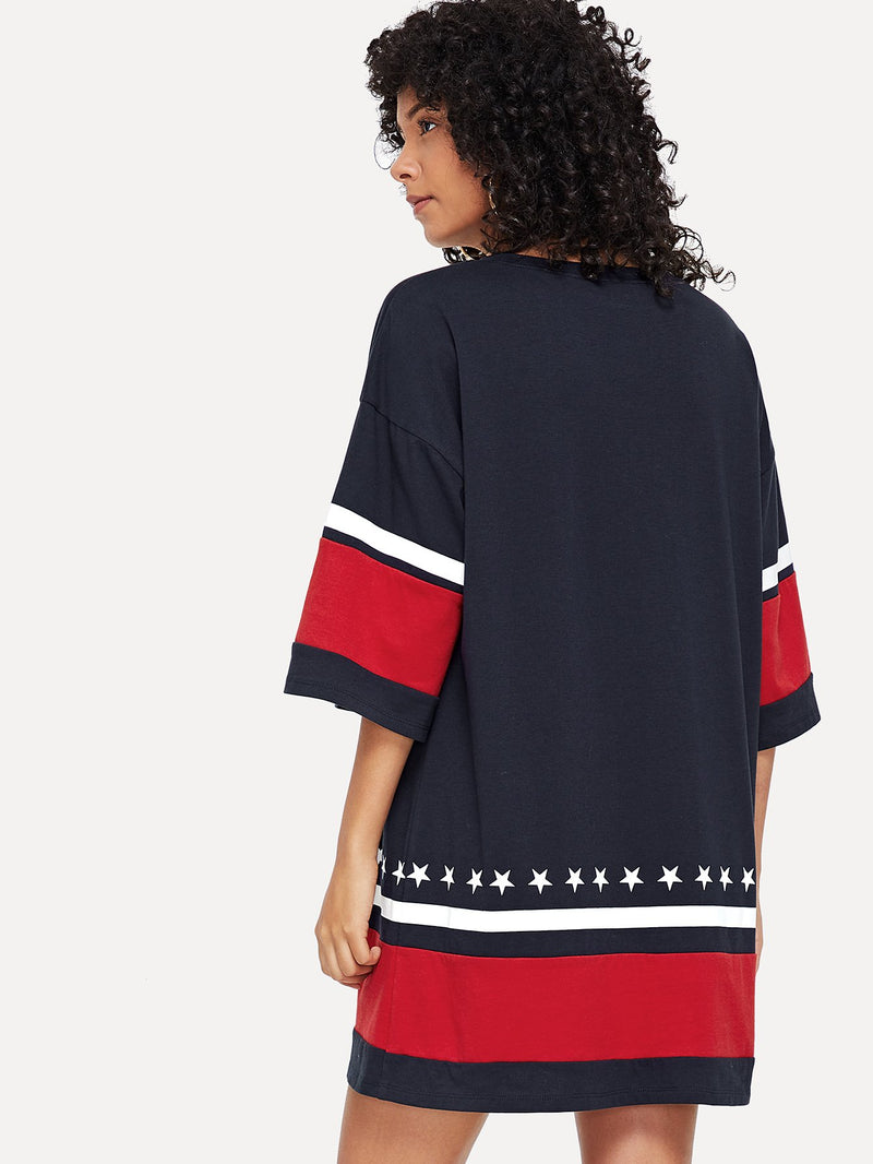 Bell Sleeve Color Block Patched Dress