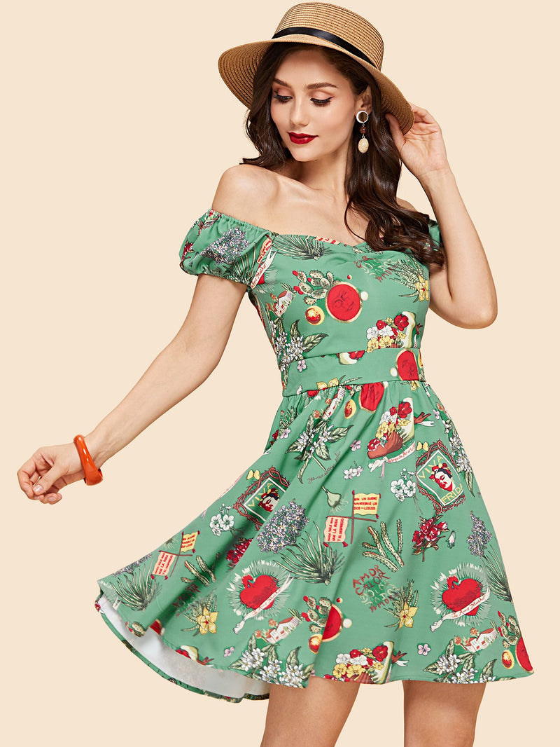 Buttoned Ruched Sweetheart Fit and Flare Dress