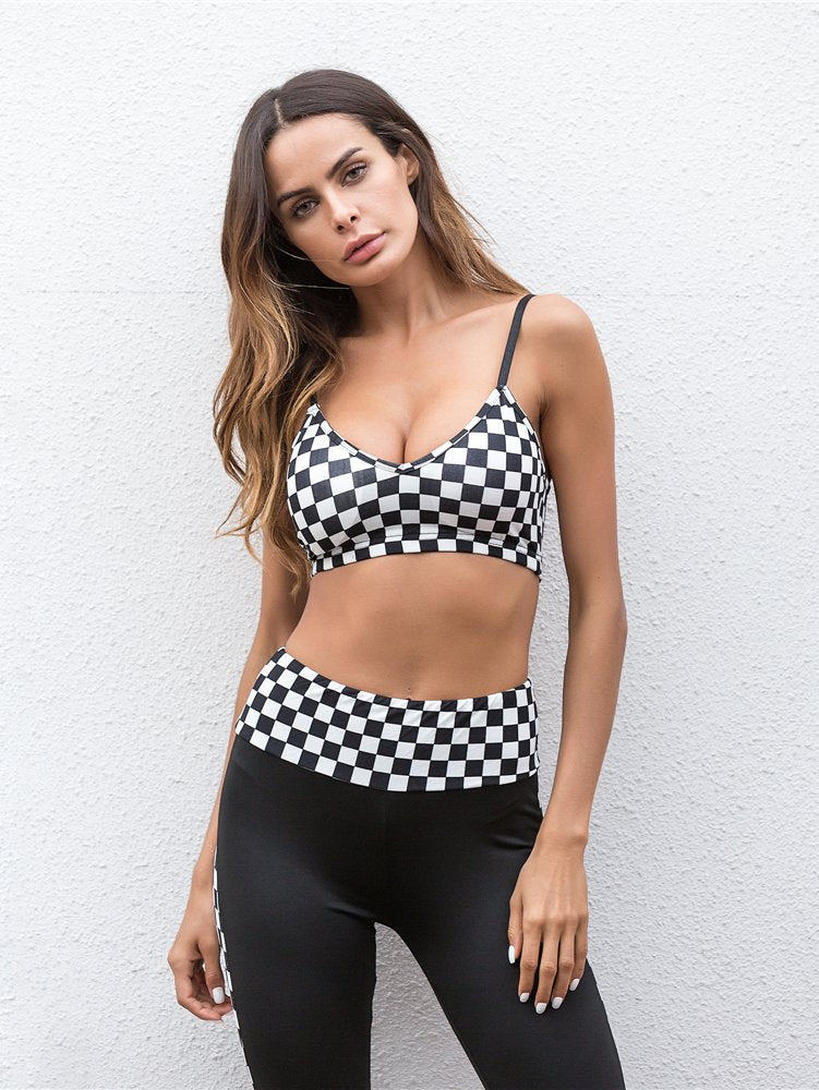 Checked Plaid Crop Cami Top With Leggings