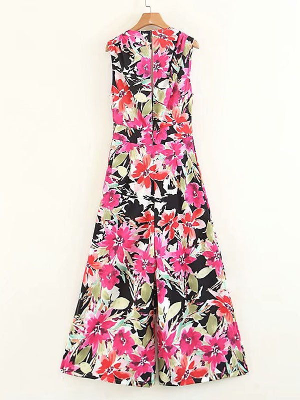 All Over Florals Wide Leg Jumpsuit