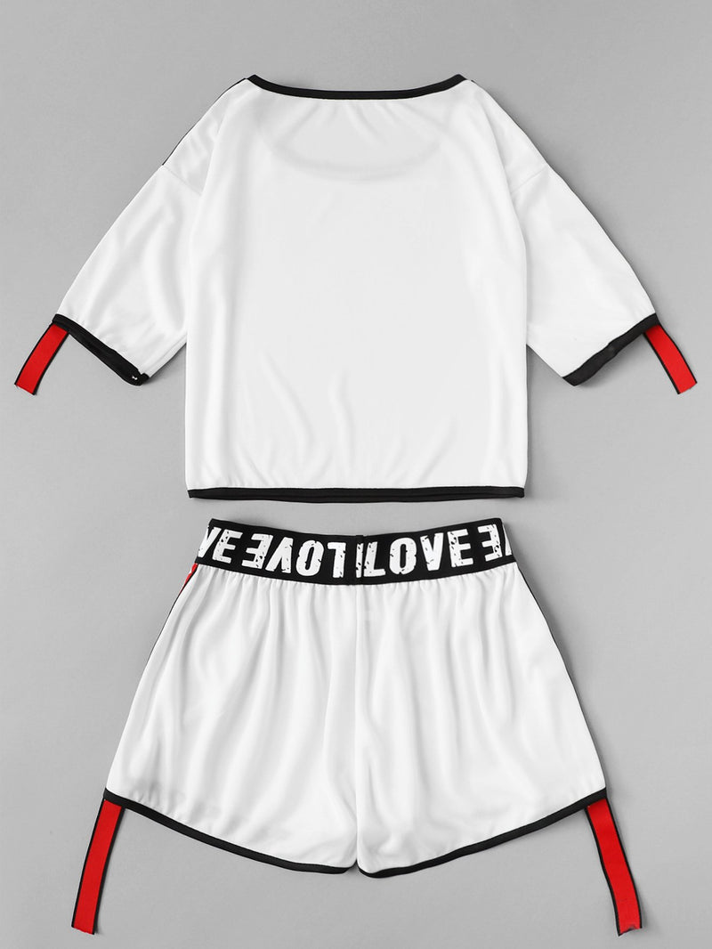 Contrast Binding Stripe Ribbon Patched Crop & Shorts Set