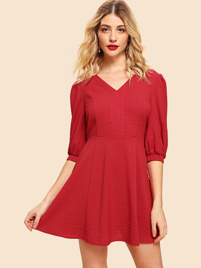Bishop Sleeve Fit and Flare Dress