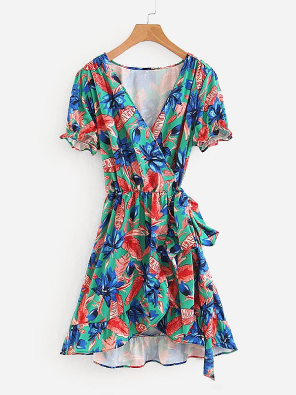 All Over Florals Ruffle Trim Wrap Dress