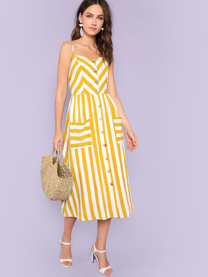 Button Up Pocket Front Striped Cami Dress
