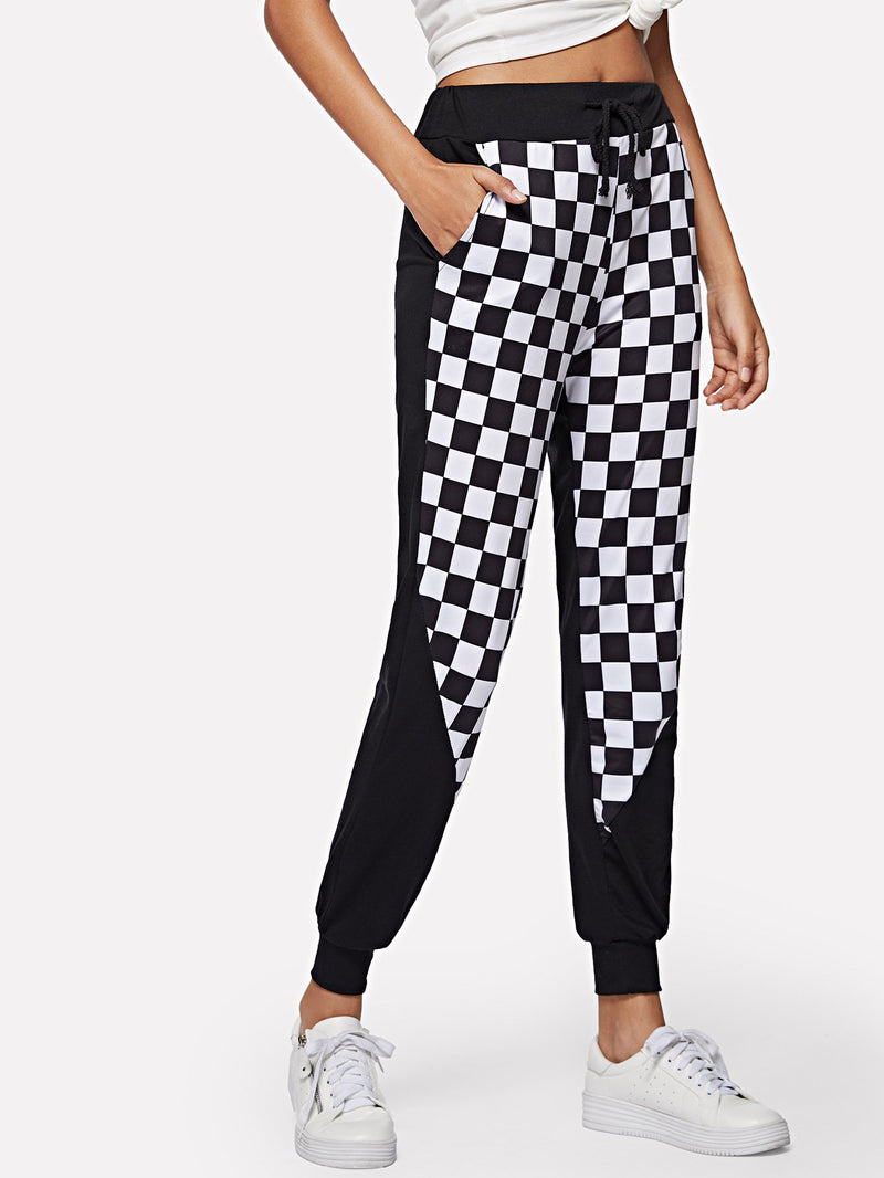 Check Plaid Contrast Sweatpants