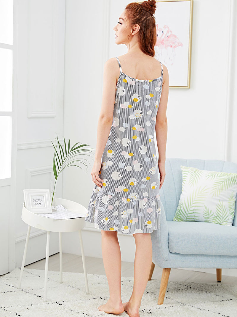 Cartoon Print Ruffle Hem Striped Night Dress