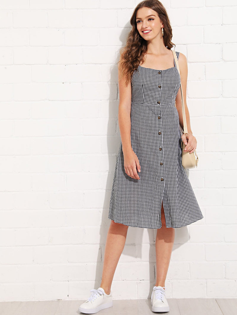 Bow Tie Back Button Up Plaid Dress