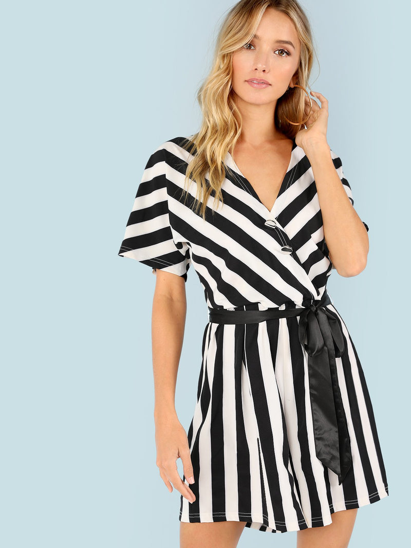 Button Detail Self Belted Striped Romper