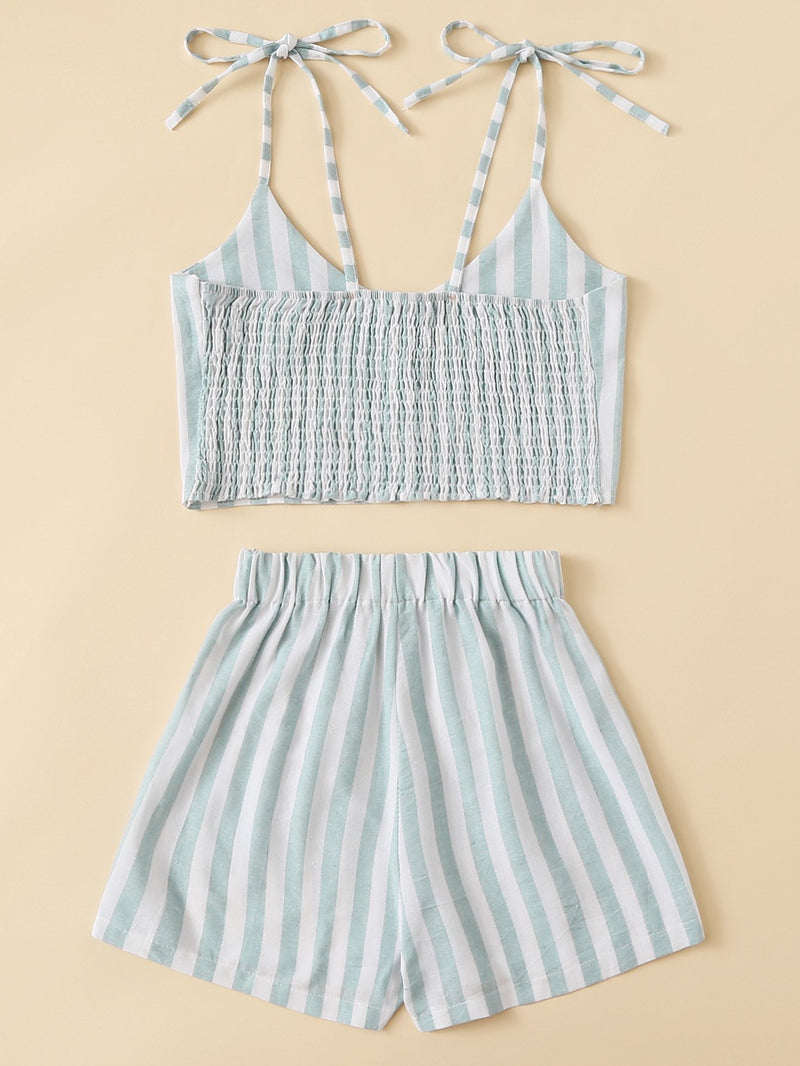 Button Detail Striped Top With Shorts