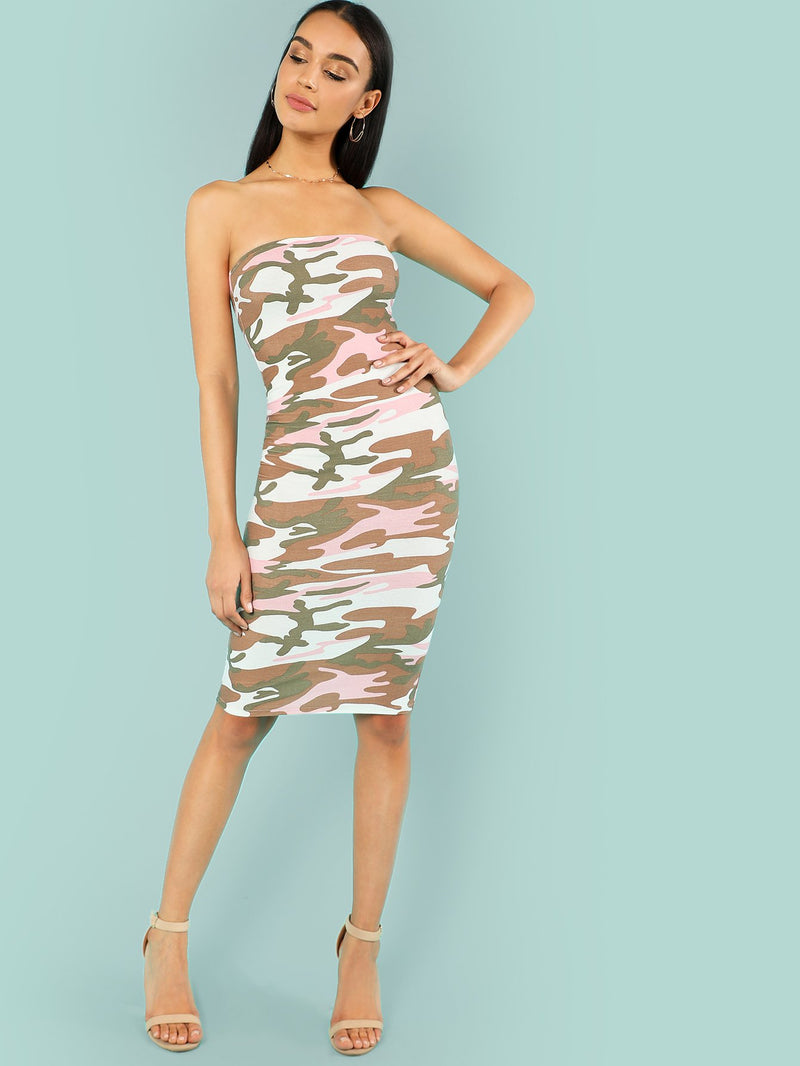 Camo Print Strapless Bodycon Dress