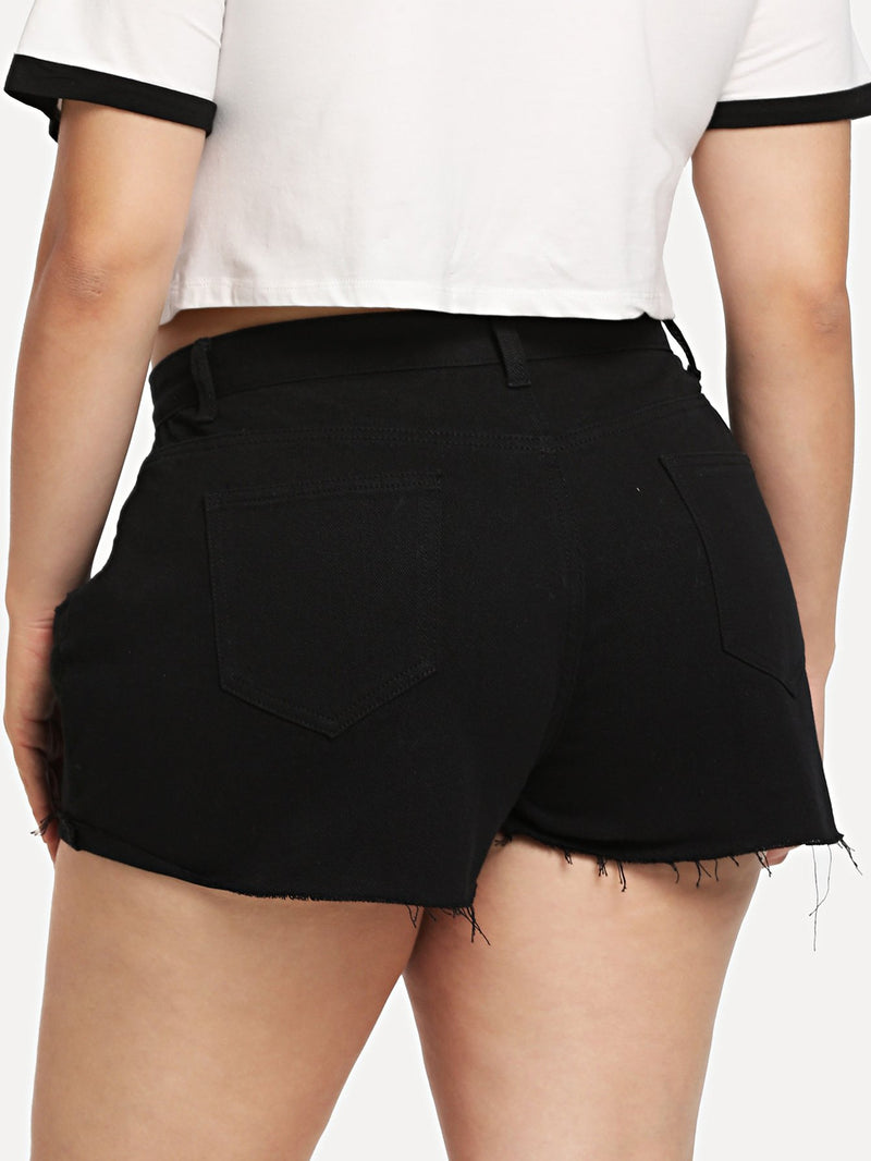 Black Wash Ripped Denim Shorts