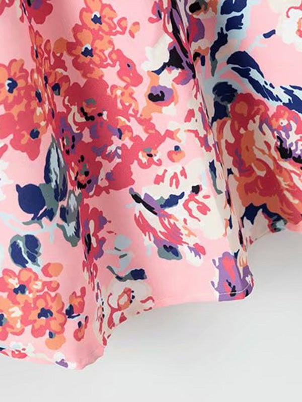 All Over Florals Curved Hem Shirt Dress