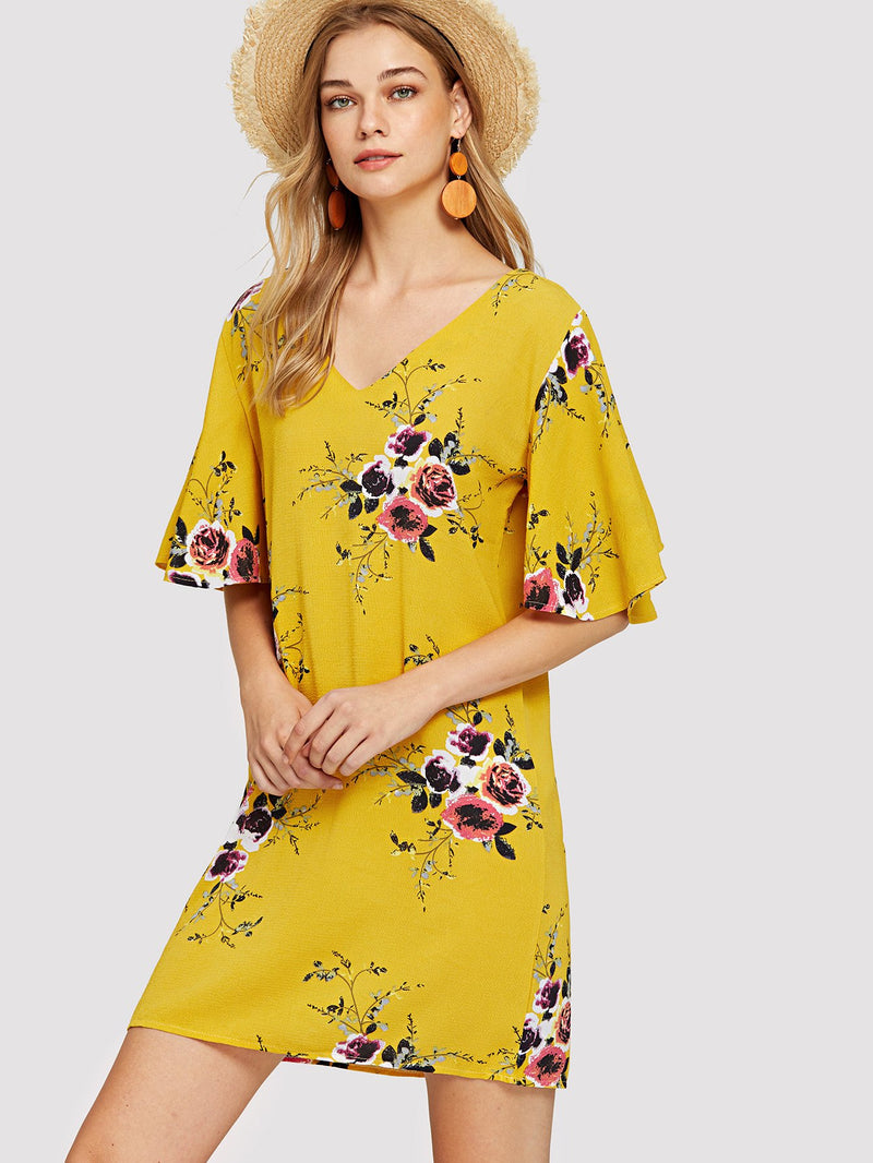 Butterfly Sleeve Floral Print Dress