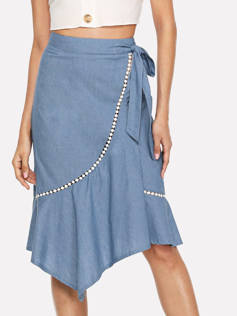 Asymmetrical Hem Crochet Detail Skirt